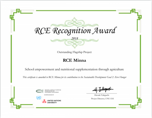 RCE Recognition Award Certificates 2018 (Outstanding Flagship Project)